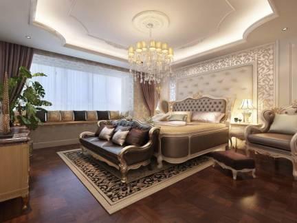 米色欧式风格卧室吊顶装修图片