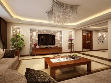 米色新中式客厅背景墙装修设计图