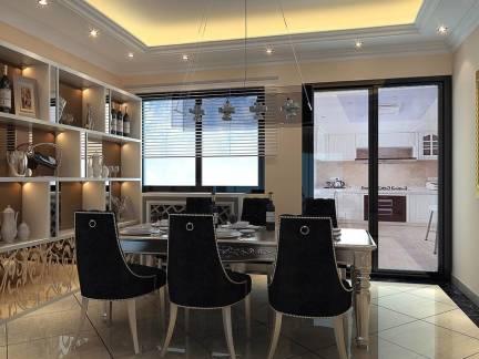 白色简欧风格餐厅酒柜装修设计图
