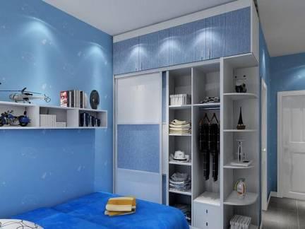 蓝色现代风格儿童房床头柜装修设计图