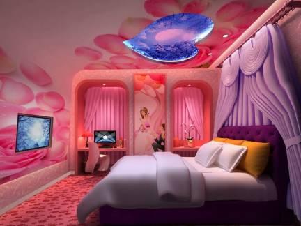 彩色现代风格卧室时尚吊顶装修设计图