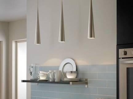 白色现代风格厨房吊灯装修图片