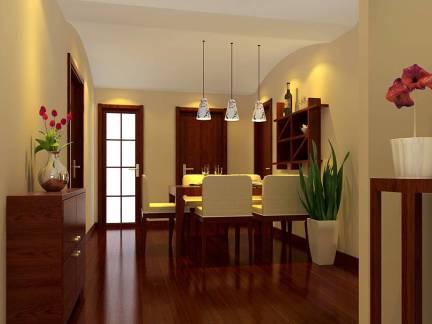 棕色雅致现代风格餐厅吊顶装修效果图