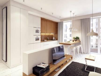 白色现代风格客厅吧台装修设计图