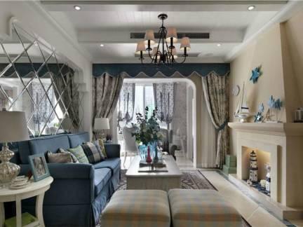 灰色地中海风格客厅吊顶装修图片