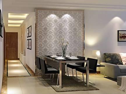简约时尚现代风格餐厅灰色背景墙