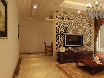 华美棕色欧式风格客厅窗帘装修图片