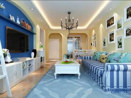 雅致蓝色地中海风格客厅电视柜装修效果图