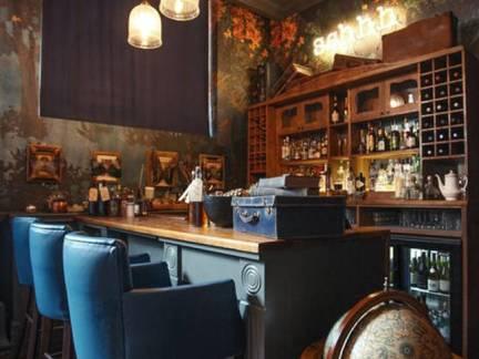 棕色东南亚风格餐厅舒适吧台装修效果图