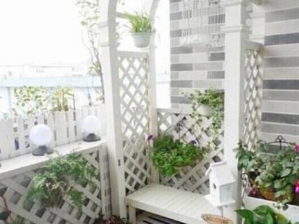 白色简约风格阳台储物柜装修效果图