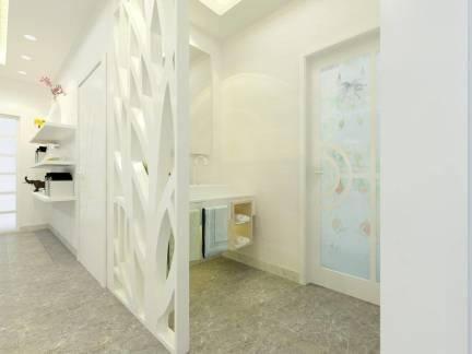 白色现代风格卫生间隔断装修图片