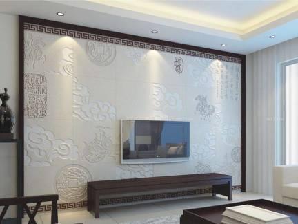 白色中式风格客厅窗帘装修设计图