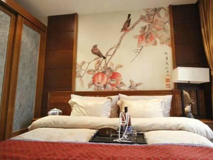 棕色中式风格卧室浪漫窗帘装修图片