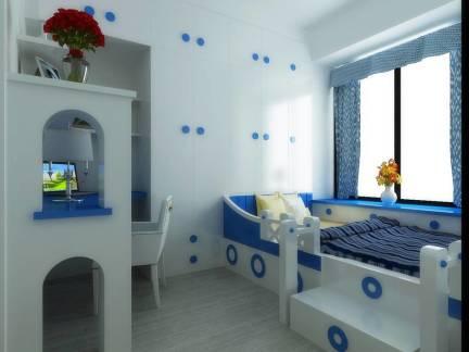 白色地中海风格儿童房储物柜装修设计图