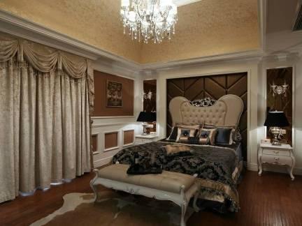 棕色文艺欧式风格卧室窗帘装修效果图