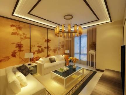米色中式风格客厅吊顶装修效果图