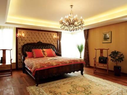 文艺时尚欧式风格卧室橙色吊顶