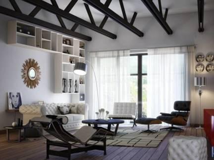 灰色现代简约风格客厅吊顶装修美图