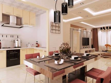 三居现代简约风格开放式厨房米色吊顶设计