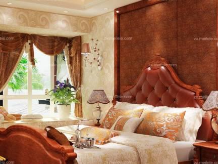 棕色欧式风格文艺卧室窗帘装修效果图
