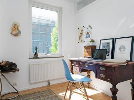 白色现代风格书房飘窗装修美图