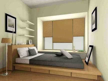 米色现代风格卧室榻榻米装修效果图