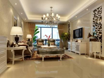 米色欧式风格时尚客厅灯具装修设计图