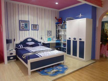 彩色地中海风格儿童房文艺背景墙装修效果图