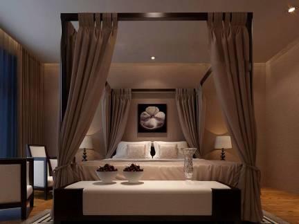 素雅灰色中式风格卧室窗帘