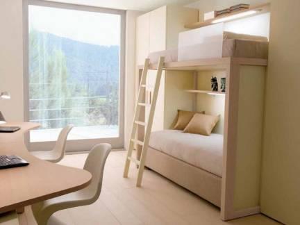 米色现代风格书房飘窗装修设计图