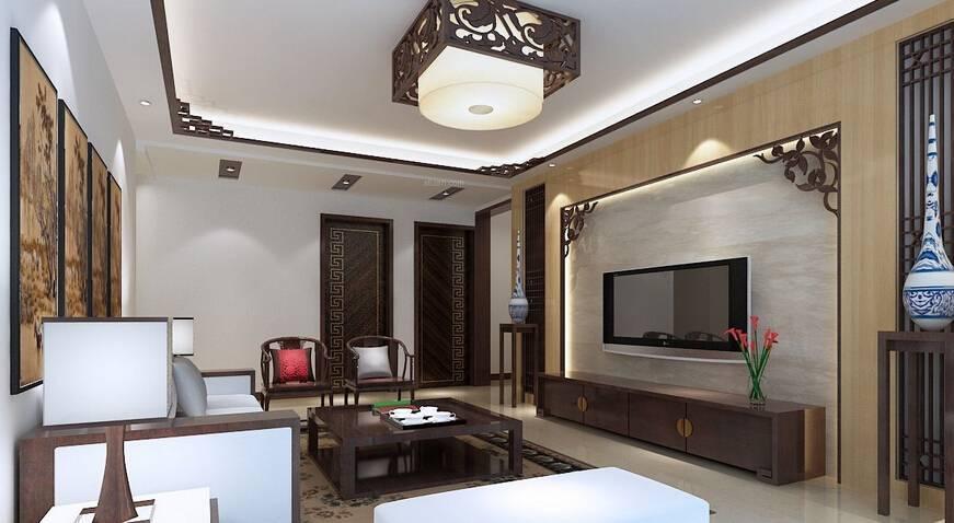 灰色中式风格客厅雅致电视柜装修效果图