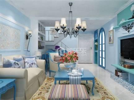 蓝色文艺地中海风格客厅背景墙装修效果图