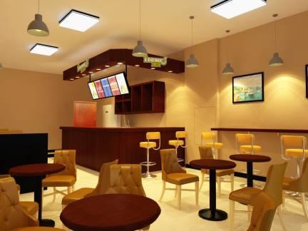 棕色现代风格咖啡厅吧台装修设计图