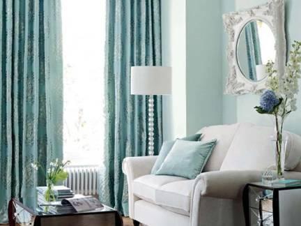 高档别墅美式客厅绿色沙发背景墙装修图片