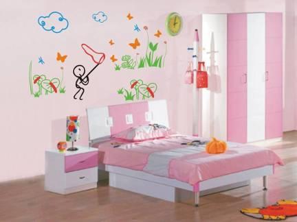 白色现代风格儿童房床头柜装修图片