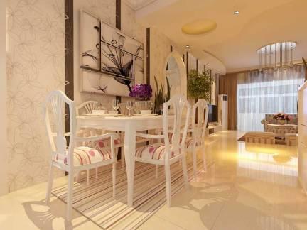 白色欧式风格餐厅吧台装修设计图