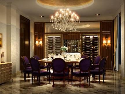 棕色简约欧式风格餐厅背景墙装修效果图