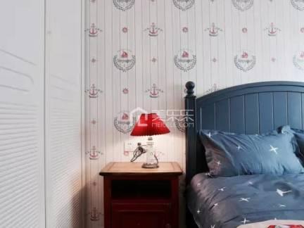 时尚棕色美式风格儿童房床头柜装修设计图
