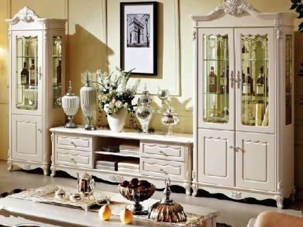 米色欧式风格客厅酒柜装修美图