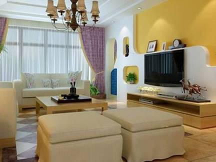 雅致黄色地中海风格客厅背景墙装修效果图