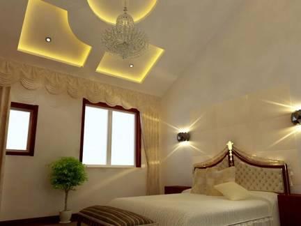 浪漫棕色欧式风格卧室吊顶装修图片