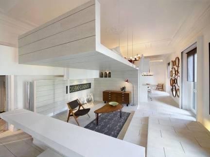 白色时尚现代风格客厅吧台装修设计图