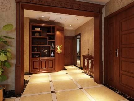 美式风格客厅咖啡色组合柜效果图