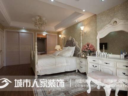 白色时尚欧式风格卧室梳妆台装修设计图