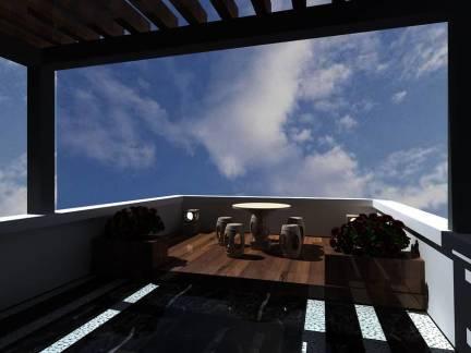 黑色舒适现代风格阳台吊顶装修设计图