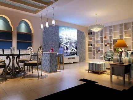 彩色地中海风格客厅吊顶装修设计图