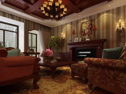 棕色地中海风格客厅吊顶装修美图
