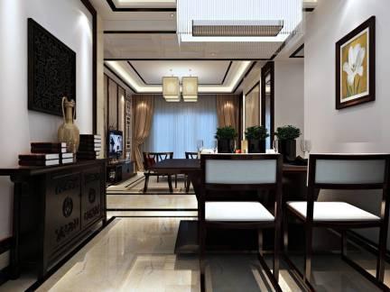 唯美米色中式风格餐厅窗帘装修设计图