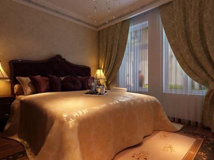 棕色欧式风格卧室素雅窗帘装修美图