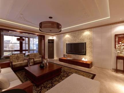 棕色中式风格客厅吊顶装修实景图